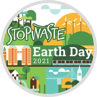 Colorful StopWaste Earth Day icon with images of city, suburb and countryside