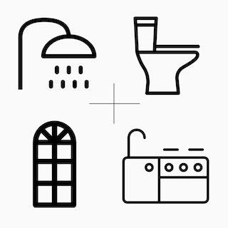 Bathroom, kitchen and window icons montage