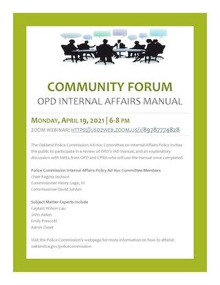 Flier - OPC Community Forum on OPD Internal Affairs Manual