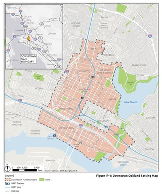 Downtown Oakland Specific Plan boundary map.