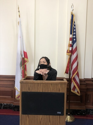 Photo of Ashley at the podium