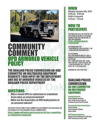 Militarized Equipment Ad Hoc Community Comment Meeting Flier