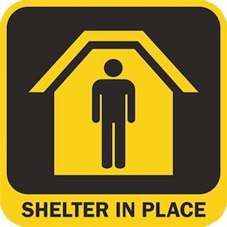 Shelter in Place graphic with stick figure shown in house image