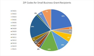 Pie chart showing the ZIP Codes for the small business grant recipients