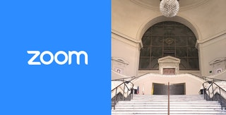 Image of Zoom logo adjacent to photo of steps leading up to Oakland City Hall