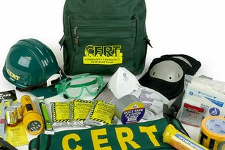 Picture of CERT Response Backpack with emergency supplies.