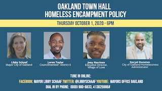 Flyer for Town Hall on Homeless Encampment Policy.