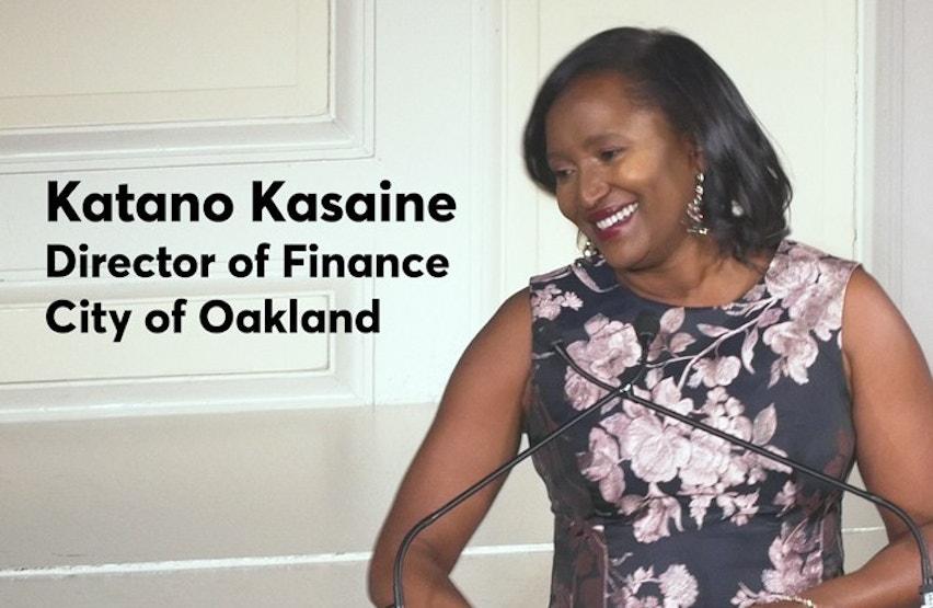 Photo of Katano Kasaine Receiving Freda Johnson Award for Women in Public Finance