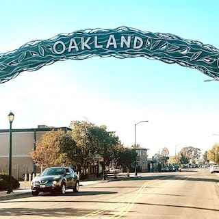 Oakland arch on MacArthur Blvd. at Durant Avenue, part of the MacArthur Boulevard Gateway Arches Public Art Project by Eric Powell
