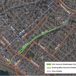 Map of Project: 14th Avenue Streetscape Project