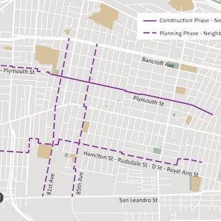 Map of Project: East Oakland Neighborhood Bike Routes