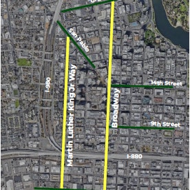 Map of Project: Reconnecting the Town: Enhancing Oakland's Civic Hub through Safer, More Reliable, and Equitable Transportation