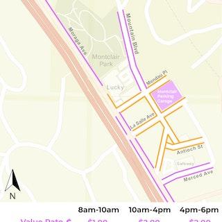 Map showing premium zones in Montclair core and value zones on periphery streetsMontclair Demand-Responsive Parking Meter Rates